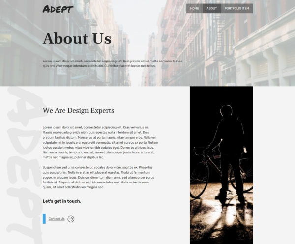 Adept About Page